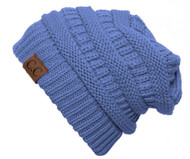 Thick Knit Soft Stretch Beanie Cap - Cobalt Blue