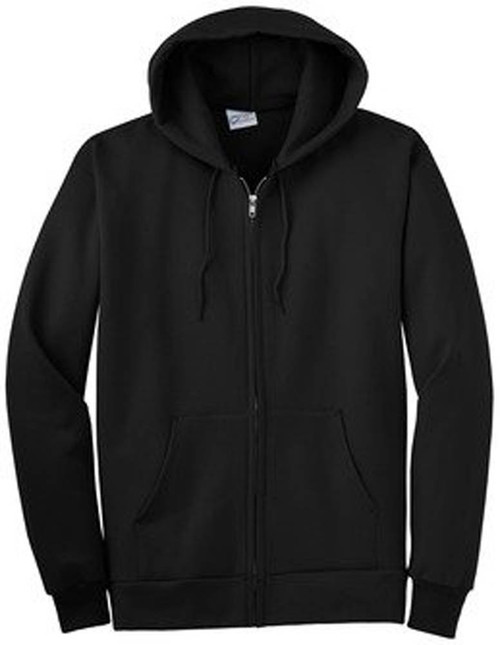 Classic Fitted Basic Zip Up Hooded Sweater (XL, Black)