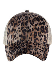 C.C Ponycap Messy Bun Ponytail Adjustable Mesh Trucker Baseball Cap, Leopard