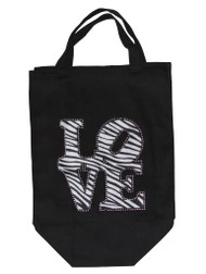 Women's Love Zebra Tote Bag Black