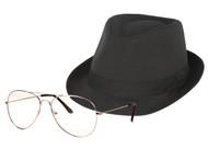 The One Who Knocks Clear Rectangle Aviator Lens Glasses Sunglasses/ Black Fedora