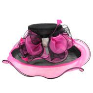 Chic Headwear Medium Brim Two-Tone Large Center Hat