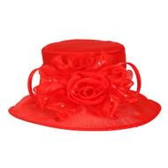 ChicHeadwear Medium Brim Ruffle Organza Hat w/ Floral Center
