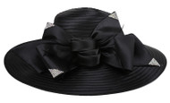ChicHeadwear Large Brim Bow Feather Detail Church Hat