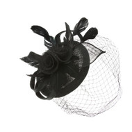 Chic Headwear Sinamay Rose Feather Bow Fascinator