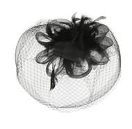 Chic Headwear Mesh Veil Feathered Loop Flower Fascinator