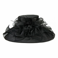 Chic Headwear Organza Hat w/ Large Brim Ruffles and Feathers