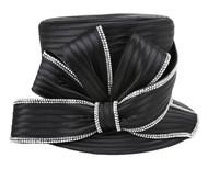 ChicHeadwear Top Hat w/ Large Bow Pearl Rhinestone Hat