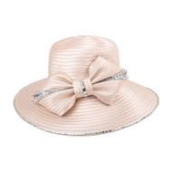 ChicHeadwear Big Bow Rhinestone Trim Braid Hat