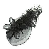 Chic Headwear Large Peacock Feather Rose Fascinator