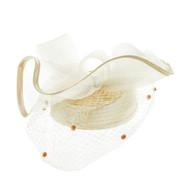 Chic Headwear Satin Braid Pill Box w/ Mesh Bow and Veil