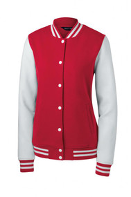 Sport-Tek Ladies Fleece Letterman Jacket + Athletic Wristbands