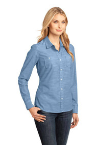 Womens Chambray Long Sleeve Washed Woven Shirt,