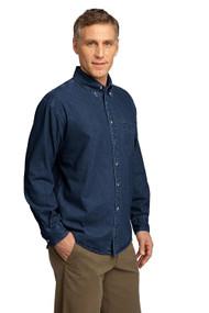 Port & Company Long Sleeve Denim Shirt,