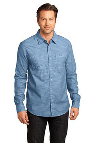 District Made - Mens Long Sleeve Washed Woven Shirt
