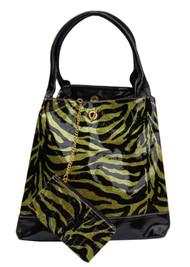 Large Glitter Zebra Print Handbag Purse Tote W/Bonus Coin Purse - Green C873