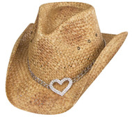 "Peter Grimm ""Heart Attack"" Straw Western Hat with Silver Heart Pendant - Brown"
