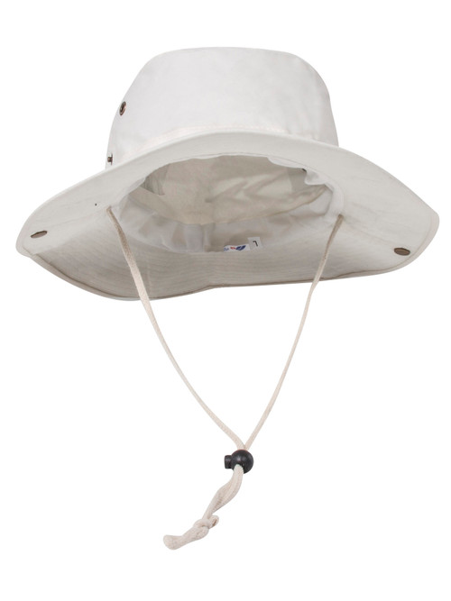 BRUSHED TWILL  HUNTING FISHING HAT W/SIDE SNAPS, Beige