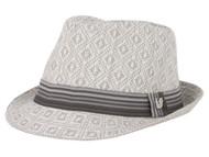 ChicHeadwear Infinity Stitch Pattern Fedora - White - Small/Medium