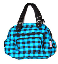 Clover Tote Pockets Style Hand Bag - Checkered Light Blue Black With Britain Flag Tag