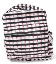 Clover Black and White Striped Skull Backpack