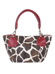 Fushia Large Vicky Giraffe Print Faux Leather Satchel Bag Handbag Purse