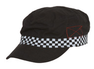 Clover Checkered Banded Newsboy Hat - Black