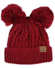 C.C 2 Ear Pom Pom Cable Knit Soft Stretch Beanie