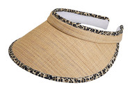 Straw Clip On Visor Cap, Leopard