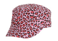 Clover Cheetah Animal Print Fitted Cadet Hat - Pink - Medium/Large