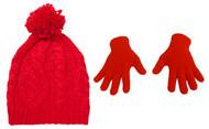 Top Headwear Crochet Knitted Beanie/Fuzzy Glove Kit
