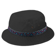 Cotton Twill Washed Bucket Hat with Tribal Band