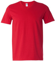Gildan Adult Softstyle Cotton V-Neck T-Shirt, Red