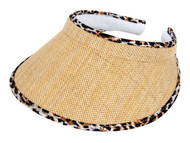 TopHeadwear Straw Visor with Leopard Trim