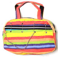 Clover Pinned Gothic Chain Style Hand Bag - Festive Rainbow Colored Striped