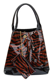 Large Glitter Zebra Print Handbag Purse Tote W/Bonus Coin Purse - Bronze C873