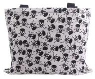 Clover Black and White Skull Tote Bag, Black and White