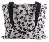 Clover Black and White Skull Tote Bag, Black and White