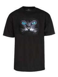 Men's Black Cat Short-Sleeve Black T-Shirt