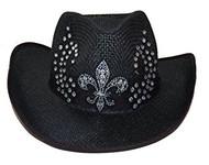 Fleur-de- lis Rhinestone Silver Embedded Straw Cowboy Hat