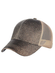 Glitter Pony Tail Outlet Mesh Adjustable Hat, Smoky Topaz