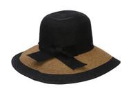 Two-Tone Paper Braid Lamp Shade Sun Hat w/ Bow