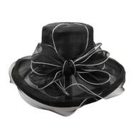 Chic Headwear Organza Floppy Church Hat w/ Bow