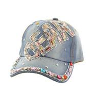 Top Headwear Multi Stone Dear Distressed Denim Baseball Cap