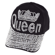 Womens Queen w/ Crown Stones Distressed Baseball Cap