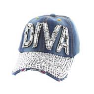 Top Headwear Diva Fashion Baseball Cap w/ Full Stone Brim