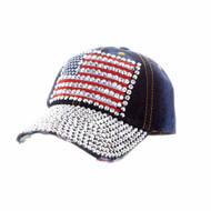 Womens Flag Patched Distressed Denim Baseball Cap