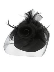 ChicHeadwear Three Rose Stone Feather Mesh Pillbox