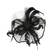 Chic Headwear Wild Feather Loop Mesh Satin Trim