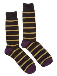 Finefit Cotton Comfort Striped High Socks - Black/Gold/Purple - 10-13
